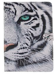 motif de tigre blanc cuir PU cas de tout le corps avec support et fente pour carte ipad air 2