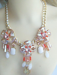 Fashion Champagne Austrian Crystal Tear Drop Flower Statement Necklace, Cluster Beaded Statement Necklace