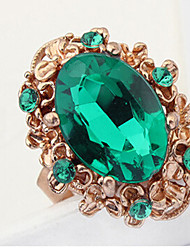 MPL Europe and the United States fashion flowers drop large oval gem emerald green ring
