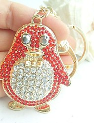 Lovely animal Key Chain With Clear & Red Rhinestone Crystals