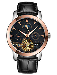 Guanqin Men Automatic Mechanical Watch Hollow 100m Waterproof Stainless Steel and Leather Rose Gold Black Watch