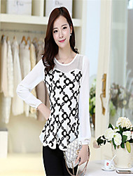 Women's Patchwork White/Black Blouse , Round Neck Long Sleeve Hollow Out/Ruffle/Mesh
