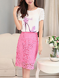 Women's Round Neck Lace/Flower Blouse , Chiffon/Lace Short Sleeve