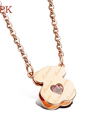 OPK®Vacuum Plating 18 K Rose Gold High-grade Necklace Love Gift Little Bear Heart
