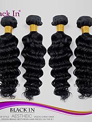 """4 Stück lot 12 """"-30"""" brasilianische tiefe Welle reine Haareinschlagfäden jet black remy Menschenhaar Webart Verwicklung frei"""