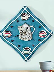 Classic Novelty Art Coffee Wall Decoration Resin Silent Fabric Shape Kitchen Large Decorative Wall Clocks