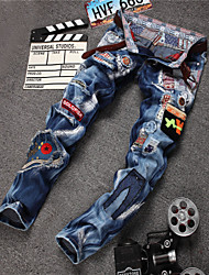 2015 New Men Hole Patch Stretch Retro Jeans Colorful Patchwork Jeans