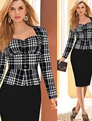 Women's Square Bandage Dress , Cotton Blend Vintage/Bodycon/Casual/Party/Work Long Sleeve VERYM