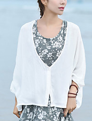 Women's Halter Shirt , Linen ¾ Sleeve