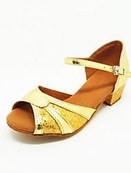 Non Customizable Kids' Dance Shoes Latin Satin Low Heel Gold