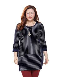 Prettyshow 2015 autumn new style women big size XL-5XL long style striped slimming clothes QA3TT0228