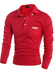 Men's Long Sleeve Polo , Cotton Casual Pure