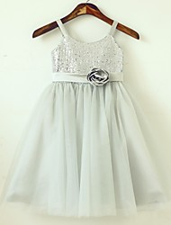 Princess Tea-length Flower Girl Dress - Tulle / Sequined Sleeveless Spaghetti Straps with