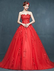 Ball Gown Wedding Dress Wedding Dress in Color Sweep / Brush Train Sweetheart Tulle with Appliques Beading