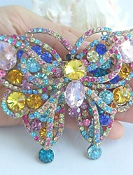 Gorgeous 3.74 Inch Gold-tone Multicolor Rhinestone Crystal Butterfly Brooch Pendant Art Deco