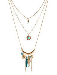 Blue Multilayer Tissue Leaf Peandant Layered Necklace