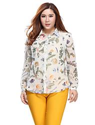 Prettyshow 2015 autumn new arrvial lady big size XL-5XL full sleeve chiffon printing shirt clothes QA3CC0231