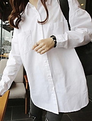 De las mujeres Camisa Escote Chino - Algodón - Manga Larga