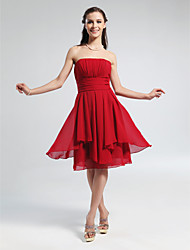Lanting Bride Knee-length Chiffon Bridesmaid Dress A-line / Princess Strapless Plus Size / Petite with Draping / Ruching