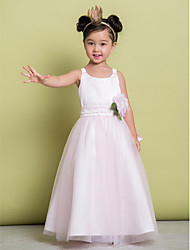 A-line Ankle-length Flower Girl Dress - Tulle Sleeveless Scoop with Flower(s)