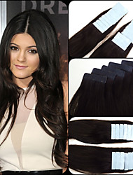 """2# Darkest Brown Pu Skin Weft Hair brazilian 12-26"""" Strong Blue Lace Tape Remy Human Extensions 5A 20pcs,2.5g/pc"""