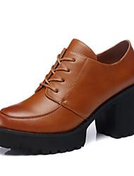 Women's Shoes Leatherette Chunky Heel Heels/Platform Pumps/Heels Office & Career/Dress/Casual Black/Brown