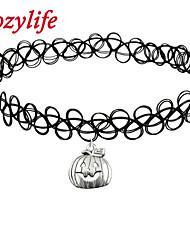 Cozylife Girls Black Stretch Gothic Tattoo Henna Collar Choker Necklace Elastic with Jack-o-lantern Pendant