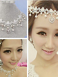 Necklace Choker Necklaces / Strands Necklaces Jewelry Wedding / Party Alloy / Lace / Rhinestone White 1pc Gift