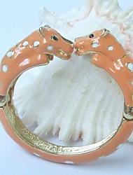 Unique Leopard Bracelet Bangle Cuff With Orange Enamel