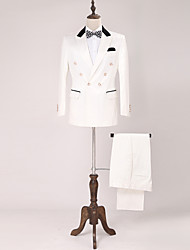 Tuxedos Standard Fit Peak Double Breasted Six-button Cotton Blend Solid 2 Pieces White