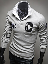 Logir Men's Shirt Collar T-Shirts , Cotton Blend Long Sleeve Casual/Work Fashion Fall Logir