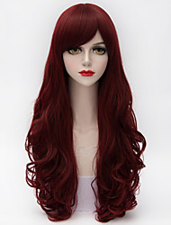 65cm langen natürlichen lockigen Seite bang Haar dunkelviolett&red hitzebeständige synthetische Lolita Damenspitzenperücke Qualitäts