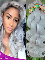 "6A Grade Brazilian Virgin Hair 3Pcs Lot Silver Gray Hair Extensions Brazilian Straight Grey Hair Weaving 14""-20"""