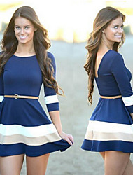 Women's Round Backless Dresses , Organic Cotton/Rayon Sexy/Casual/Work Long Sleeve Phylomeya