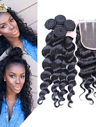 4Pcs/Lot 10''-30'' Peruvian Virgin Hair Loose Wave Hair Closure with Wefts Peruvian Loose Wave Hair Bundles