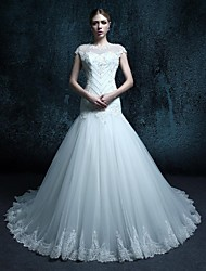 Trumpet/Mermaid Court Train Wedding Dress - Scoop Tulle