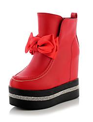Zapatos de mujer Semicuero Tacón Plano Punta Redonda Botas Casual Negro/Rojo/Blanco