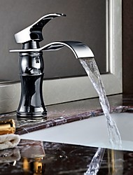 Shengbaier Modern Single Handle Waterfall Bathroom Sink Faucet (Chrome Finish)