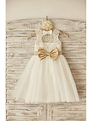 Flower Girl Dress Princess Knee-length - Lace / Tulle Sleeveless Scoop with Bow(s) / Sash / Ribbon