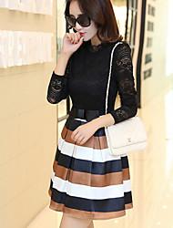 Women's Striped Black Dresses , Casual High-Neck Long Sleeve