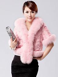 Fur Coats Coats/Jackets Half Sleeve Rabbit Fur/Faux Fur Black/Pink/Burgundy/Dark Brown