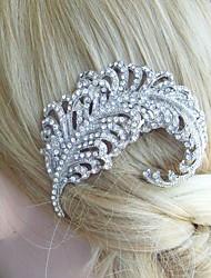 Wedding Headpiece 2.76 Inch Silver-tone Clear Rhinestone Crystal Leaf Bridal Hair Comb Bridal Hair Accessories