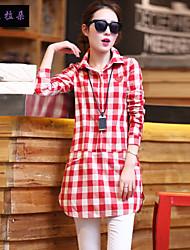 Langermet Skjorte Skjortekrage Bomull Kvinner