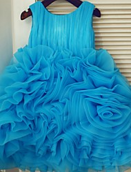 Princess Knee-length Flower Girl Dress - Organza Sleeveless Scoop with