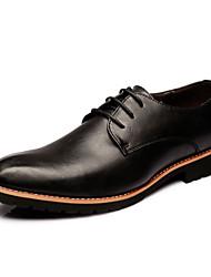Oxfords ( Cuero , Negro/Rojo Tacón plano para Zapatos de hombre