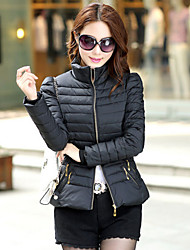 Women's Stand Coats & Jackets , Cotton Bodycon/Casual Long Sleeve BLS