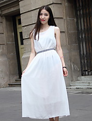 Women's Beach Dress,Solid Midi Sleeveless White Polyester Summer