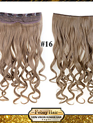 24inch 60cm 120G color 16# Clip in On Hair Extensions Wavy Clip On Hairpieces