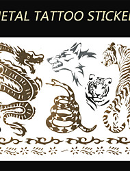 New Decal Flash Tatoo Temporary Sticker Waterproof Sexy Tattoo Body Art\Dragon VS Tiger VS Snake VS Wolf\Fake Tattooing