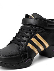 Modern Women's Dance Shoes Sneakers Leather Low Heel Black/Black and Gold